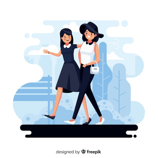 Women walking on streets together Free Vector