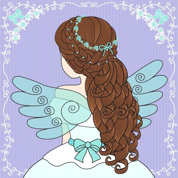Women wear angel wings Premium Vector