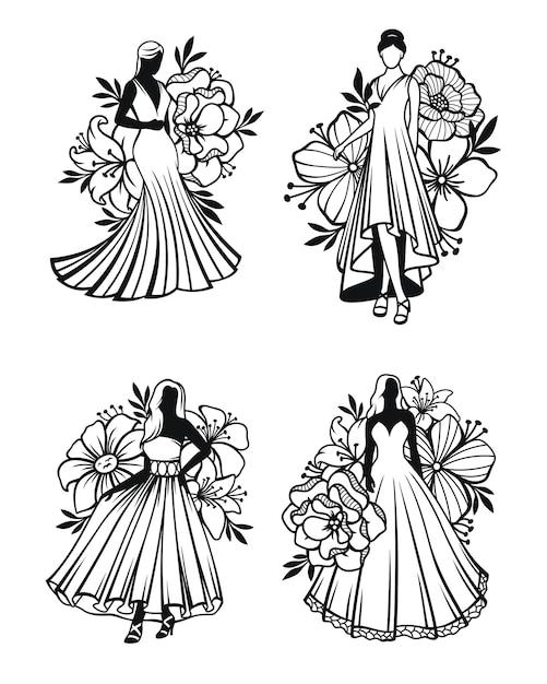 花飾り付きのロングドレスを着ている女性 Premiumベクター