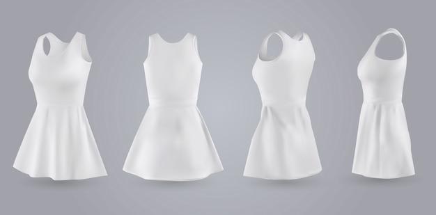 Women white dress set Premium Vector