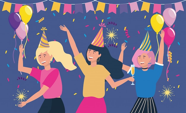 Women with hat in party with balloons Free Vector