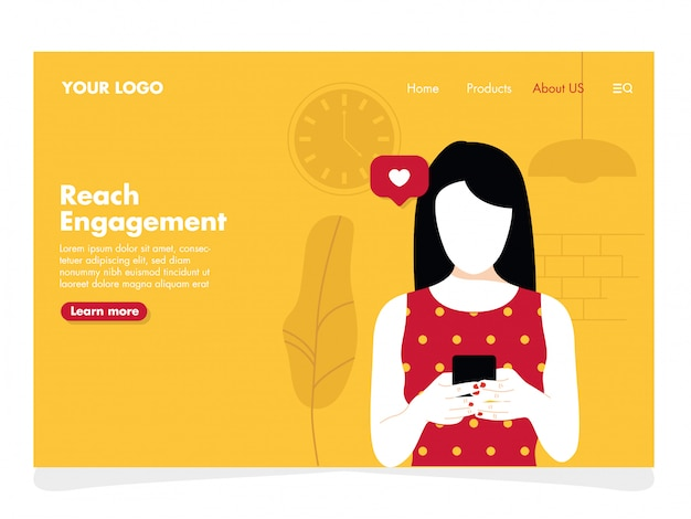 Women with phone illustration for landing page Premium Vector