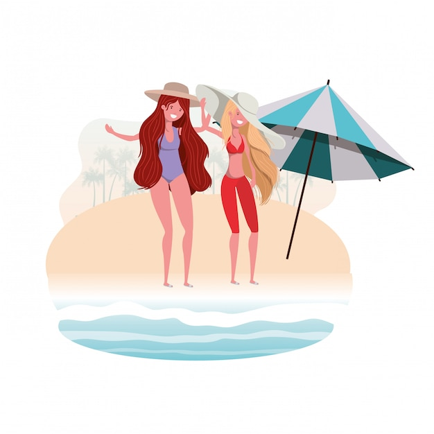 Women with swimsuit on the beach and umbrella Free Vector