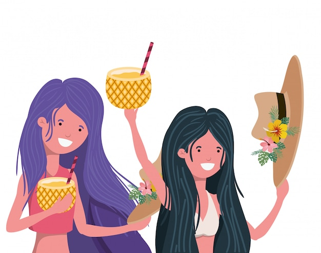 Women with swimsuit and pineapple cocktail Free Vector