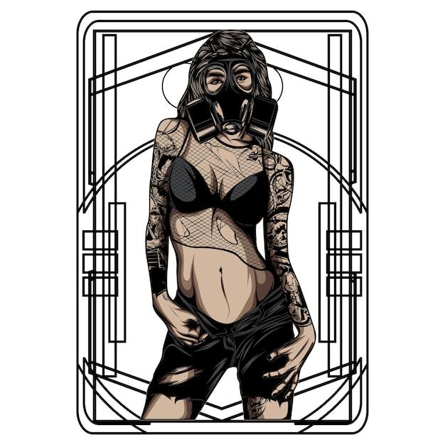 Women with tattoo Premium Vector