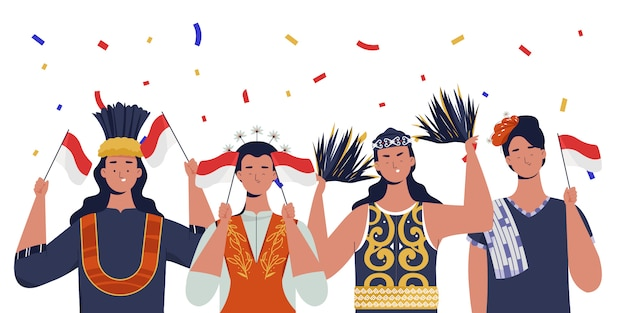 伝統的な服を着た女性がインドネシアの独立記念日を祝っています Premiumベクター