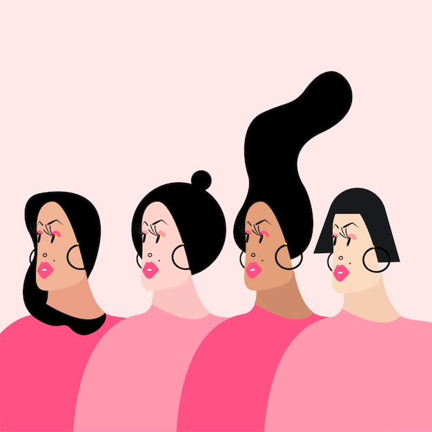 Women with various hairstyles vector illustration Free Vector