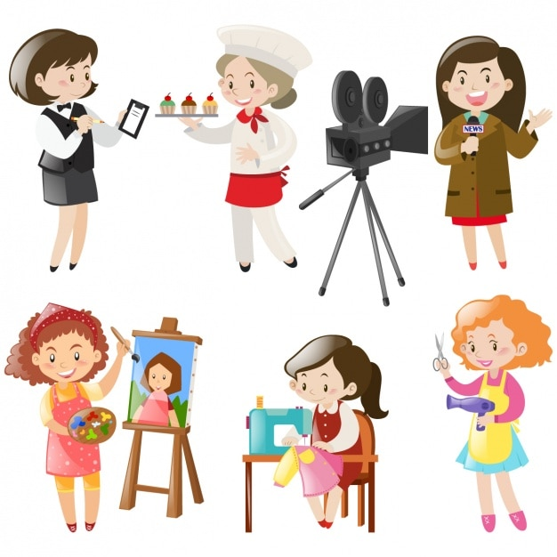 Women working designs collection Free Vector