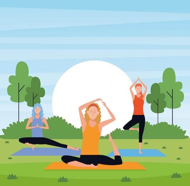 Women yoga in the park Premium Vector