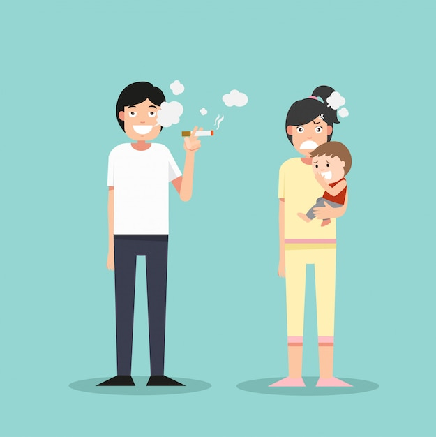 Women and young boy smelly cigarette, man smoking Premium Vector