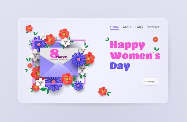 여성의 날 3 월 8 일 휴일 축하 판매 배너 전단지 또는 인사말 카드 봉투와 꽃 가로 그림 프리미엄 벡터