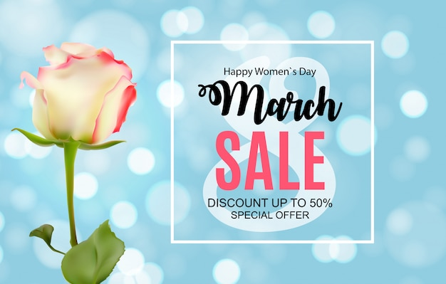 Womens day, 8 march sale banner spring design with flower. Premium Vector