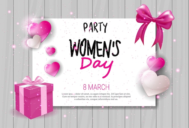 Womens day celebration party invitation holiday event greeting card design Premium Vector