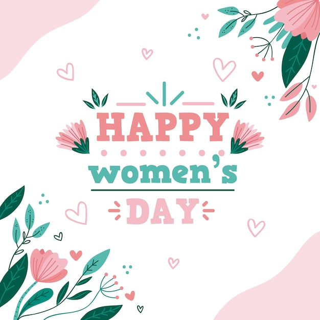 Womens day event theme with flowers Free Vector
