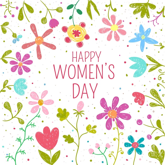 Womens day flowers theme concept Free Vector