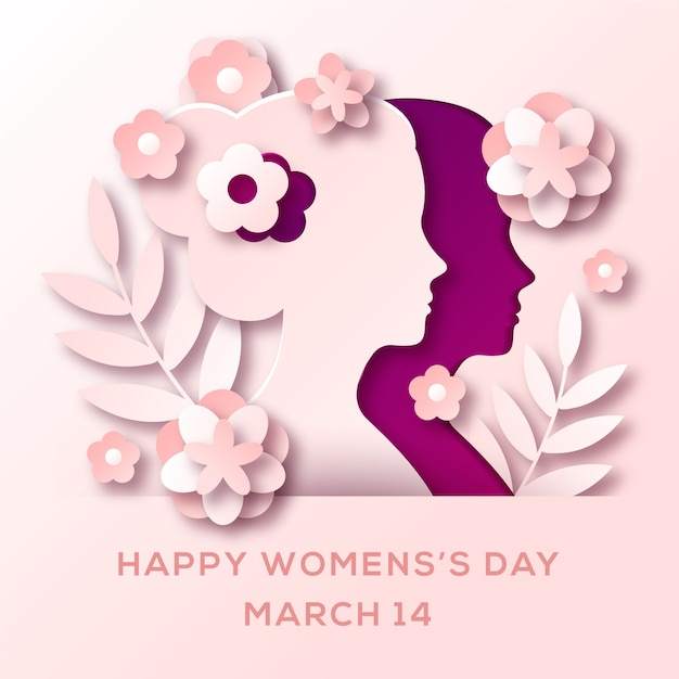 Womens day in paper style design Premium Vector