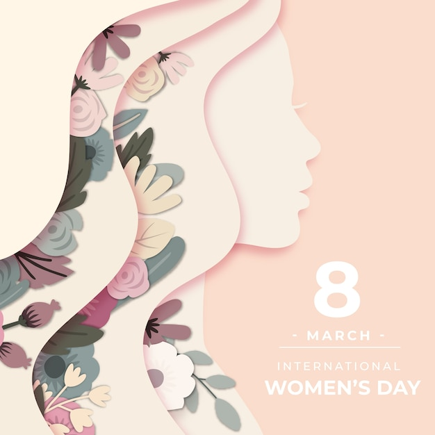 Womens day in paper style theme Premium Vector