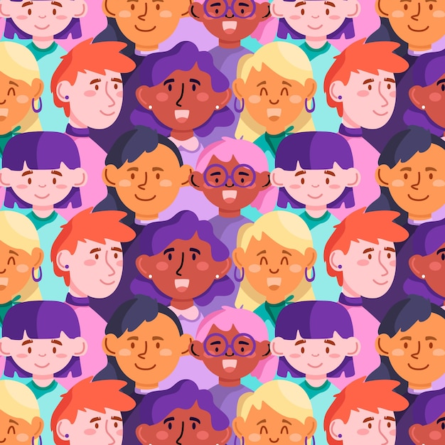 Womens day pattern with women faces Free Vector
