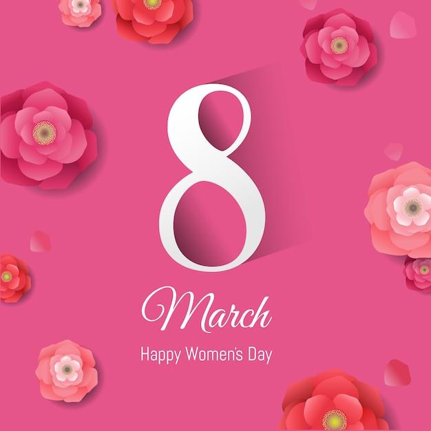 Womens day pink banner Premium Vector