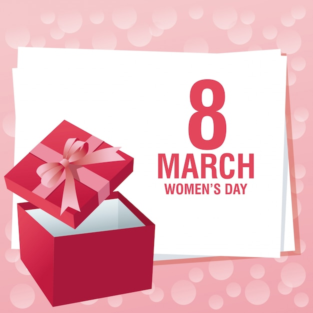 Womens day pink card Premium Vector