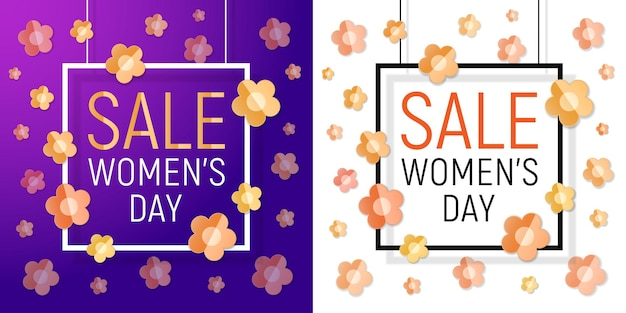 Womens day sale banner set. march women's day paper design of greeting card. Premium Vector