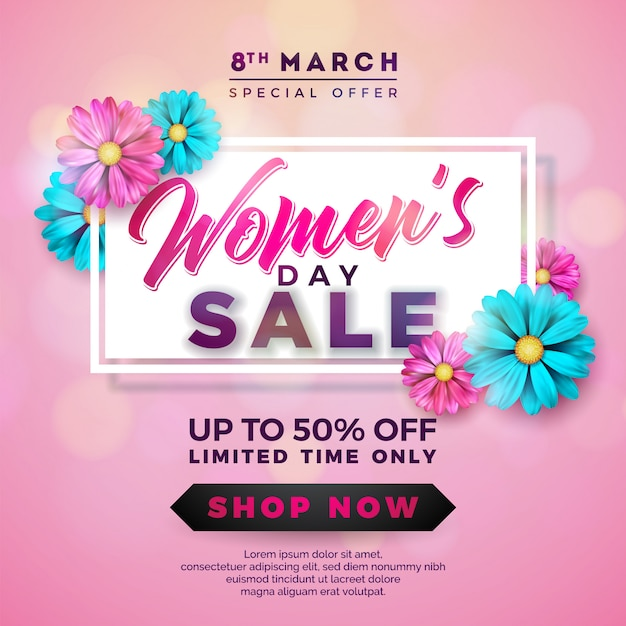 Womens day sale design with beautiful colorful flower Premium Vector
