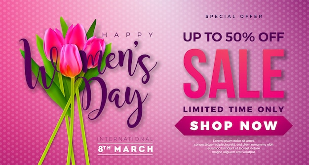 Womens day sale design with tulip flower on pink background. Premium Vector