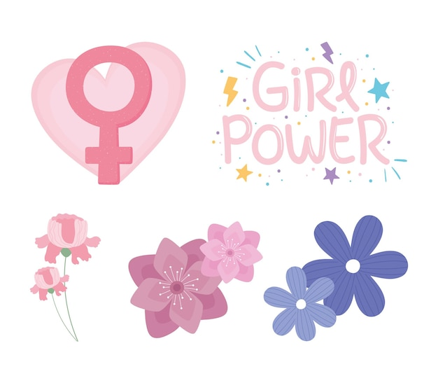 Womens day, set with flowers and gender female girl power  illustration Premium Vector