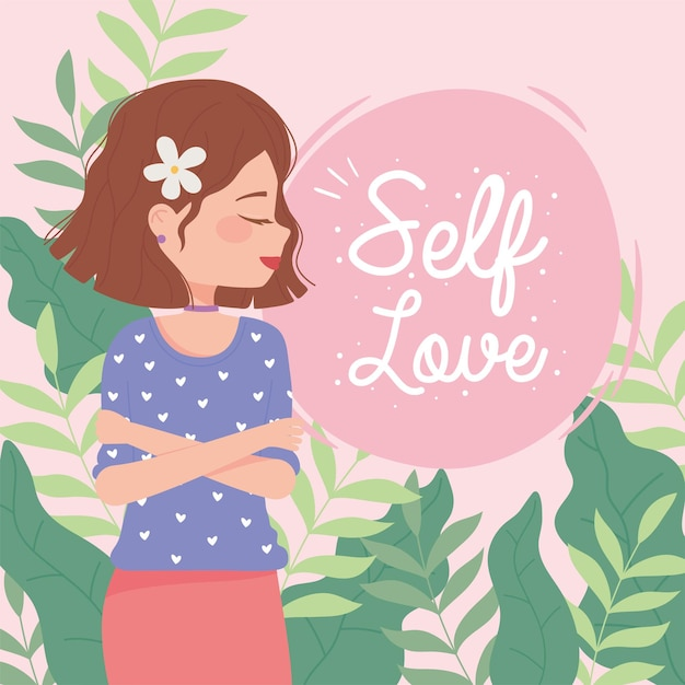 Womens day woman with flower in hair, self love  illustration Premium Vector