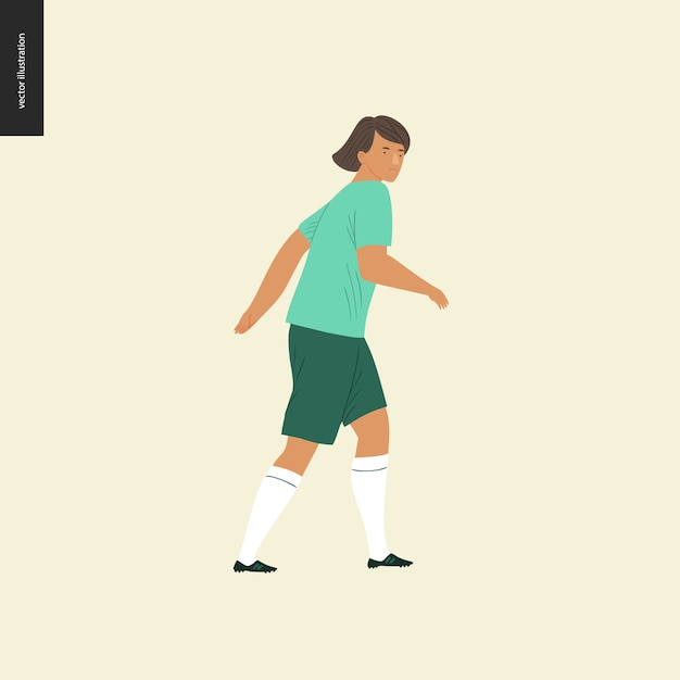 Womens european football, soccer player - flat vector illustration of a walking young woman wearing european football player equipment Premium Vector
