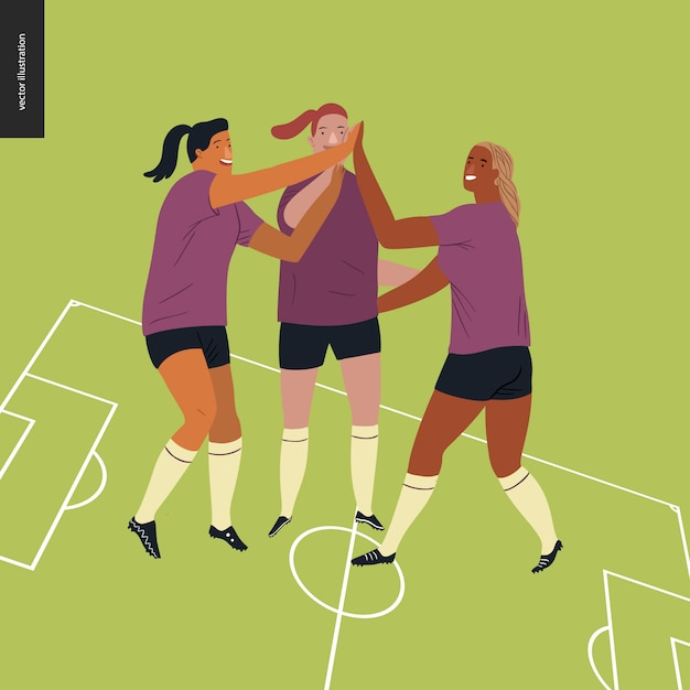 Womens european football, soccer player Premium Vector