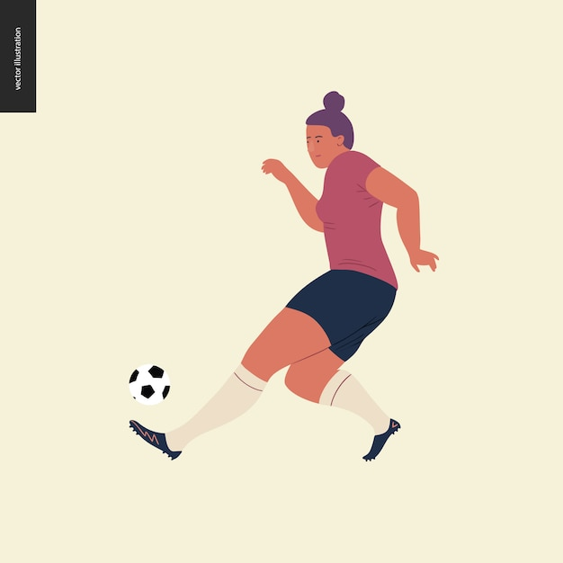 Womens european football, soccer player Premium Vector