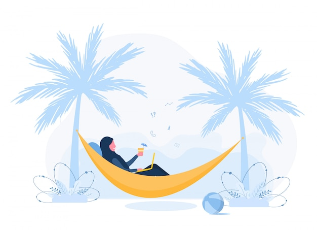 Womens freelance. arabian girl in hijab with laptop lies in hammock under palm trees with cocktail. concept illustration for working outdoors, studying, communication, healthy lifestyle. flat style. Premium Vector