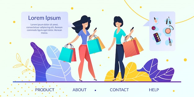 Womens goods online store flat vector website Premium Vector
