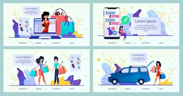 Womens goods online store, shop  website Premium Vector
