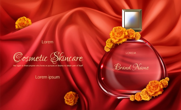 Womens perfume 3d realistic vector advertising banner or cosmetic promo poster. Free Vector