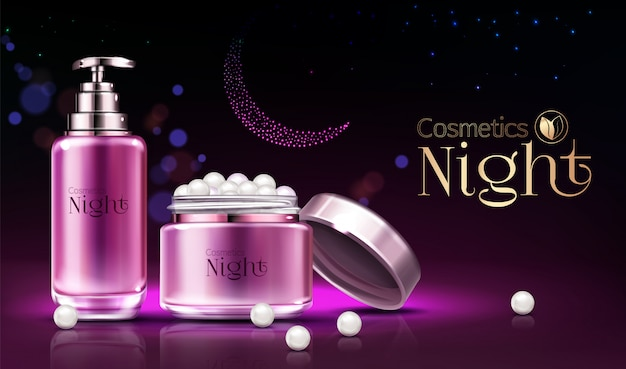 Womens skincare night cosmetics line products realistic  ad banner, poster. Free Vector
