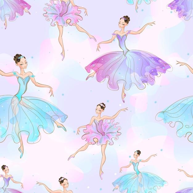 Wonderful ballerina girls. Premium Vector