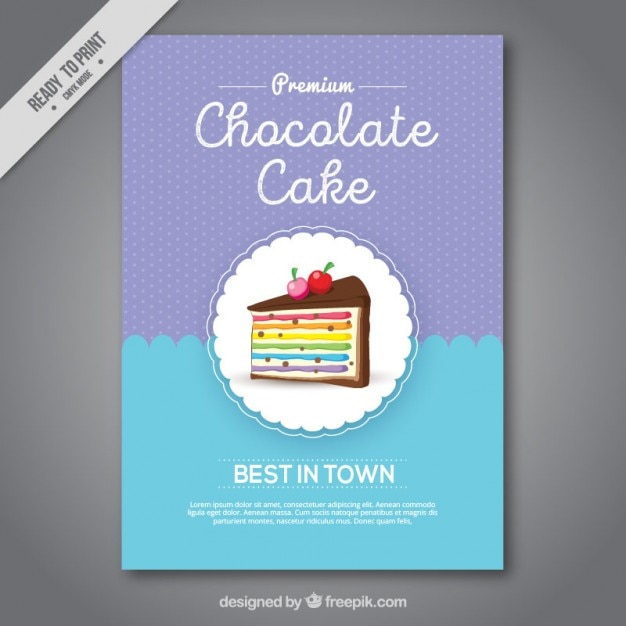 Wonderful cake sweet shop brochure Free Vector