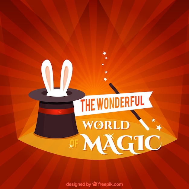 The wonderful world of magic Free Vector