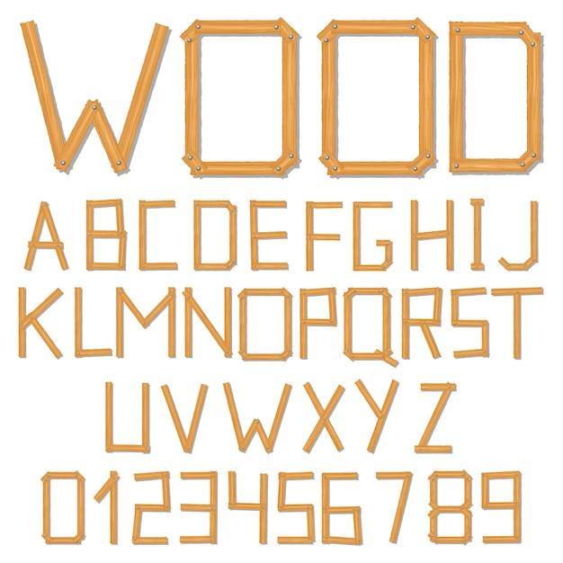 Деревянный алфавит Premium векторы