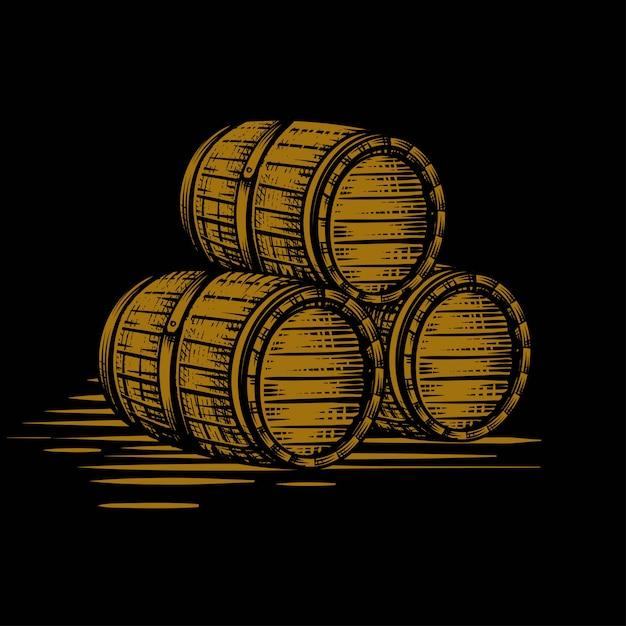 Wood barrel gold hand drawn engraving style illustrations Premium Vector