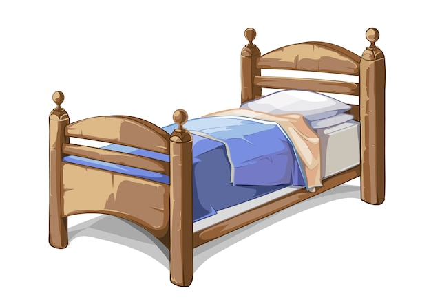 Wood bed in cartoon style. furniture interior, bedroom comfortable. vector illustration Free Vector