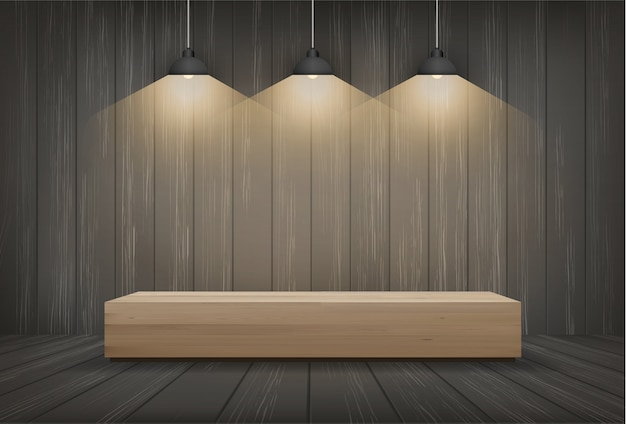 Wood bench in dark room space background with light bulb. Premium Vector