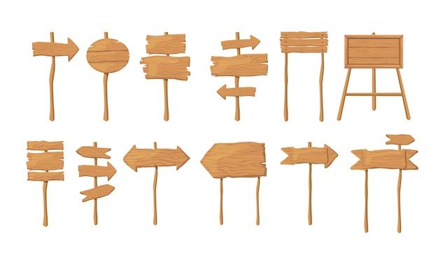 Деревянные доски на палочке плоской векторной коллекции Бесплатные векторы