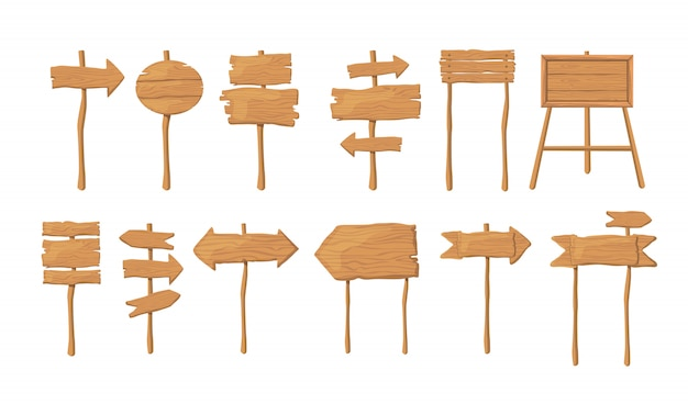 Wood boards on stick flat vector collection Free Vector