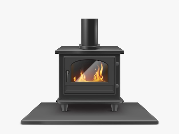 Wood burning stove, iron fireplace with fire inside isolated, indoors traditional heating system in modern style. household equipment. realistic 3d vector illustration, clip art Free Vector