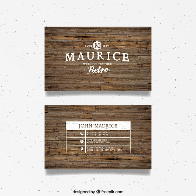 Wood business card in retro style vector free download for Firewood business cards