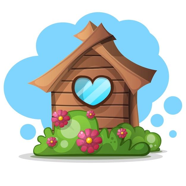 wood cartoon house bush bush and flower icon vector house free vector file house free vector file