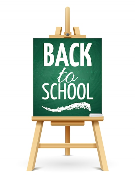 Wood chalk easel or school board with chalk. back to school chalkboard template Premium Vector